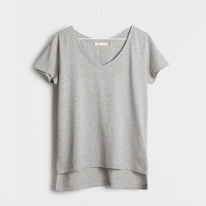 [Zara] Gray V Neck Short Sleeve T Shirt